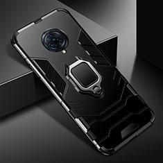 Custodia Silicone e Plastica Opaca Cover con Magnetico Anello Supporto per Vivo Nex 3 5G Nero