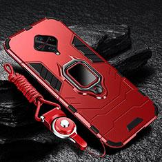 Custodia Silicone e Plastica Opaca Cover con Magnetico Anello Supporto per Vivo X50 Lite Rosso