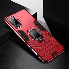 Custodia Silicone e Plastica Opaca Cover con Magnetico Anello Supporto per Vivo X50 Pro 5G Rosso