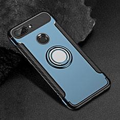 Custodia Silicone e Plastica Opaca Cover con Magnetico Anello Supporto per Xiaomi Mi 8 Lite Blu