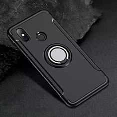 Custodia Silicone e Plastica Opaca Cover con Magnetico Anello Supporto per Xiaomi Mi 8 Nero