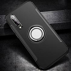 Custodia Silicone e Plastica Opaca Cover con Magnetico Anello Supporto per Xiaomi Mi A3 Lite Nero