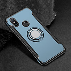 Custodia Silicone e Plastica Opaca Cover con Magnetico Anello Supporto per Xiaomi Mi Max 3 Blu