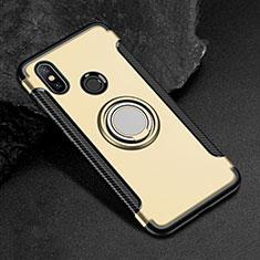 Custodia Silicone e Plastica Opaca Cover con Magnetico Anello Supporto per Xiaomi Mi Max 3 Oro