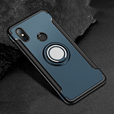 Custodia Silicone e Plastica Opaca Cover con Magnetico Anello Supporto per Xiaomi Redmi 6 Pro Blu