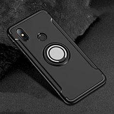 Custodia Silicone e Plastica Opaca Cover con Magnetico Anello Supporto per Xiaomi Redmi 6 Pro Nero