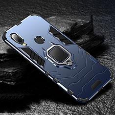 Custodia Silicone e Plastica Opaca Cover con Magnetico Anello Supporto per Xiaomi Redmi 7 Blu