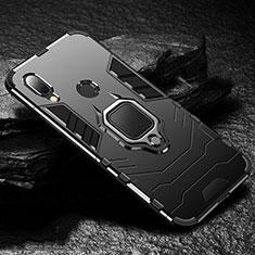 Custodia Silicone e Plastica Opaca Cover con Magnetico Anello Supporto per Xiaomi Redmi 7 Nero