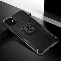 Custodia Silicone e Plastica Opaca Cover con Magnetico Anello Supporto R01 per Apple iPhone 11 Nero