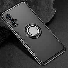 Custodia Silicone e Plastica Opaca Cover con Magnetico Anello Supporto R01 per Huawei Honor 20 Nero