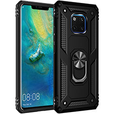 Custodia Silicone e Plastica Opaca Cover con Magnetico Anello Supporto R01 per Huawei Mate 20 Pro Nero