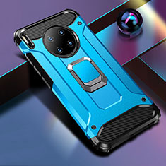 Custodia Silicone e Plastica Opaca Cover con Magnetico Anello Supporto R01 per Huawei Mate 30 Pro 5G Blu