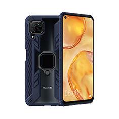 Custodia Silicone e Plastica Opaca Cover con Magnetico Anello Supporto R01 per Huawei Nova 6 SE Blu