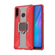 Custodia Silicone e Plastica Opaca Cover con Magnetico Anello Supporto R01 per Huawei P30 Lite Rosso