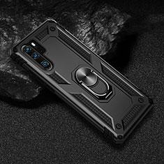Custodia Silicone e Plastica Opaca Cover con Magnetico Anello Supporto R01 per Huawei P30 Pro Nero