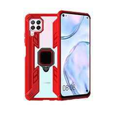 Custodia Silicone e Plastica Opaca Cover con Magnetico Anello Supporto R01 per Huawei P40 Lite Rosso