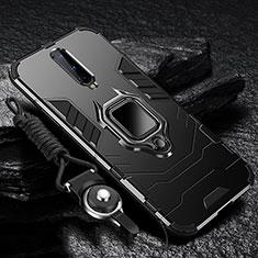 Custodia Silicone e Plastica Opaca Cover con Magnetico Anello Supporto R01 per OnePlus 8 Nero