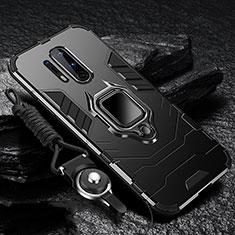 Custodia Silicone e Plastica Opaca Cover con Magnetico Anello Supporto R01 per OnePlus 8 Pro Nero