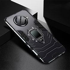 Custodia Silicone e Plastica Opaca Cover con Magnetico Anello Supporto R01 per Oppo Ace2 Nero