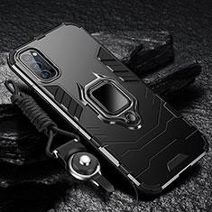 Custodia Silicone e Plastica Opaca Cover con Magnetico Anello Supporto R01 per Oppo Reno4 Pro 5G Nero