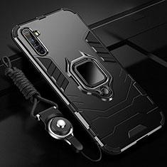 Custodia Silicone e Plastica Opaca Cover con Magnetico Anello Supporto R01 per Realme X50 Pro 5G Nero