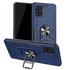 Custodia Silicone e Plastica Opaca Cover con Magnetico Anello Supporto R01 per Samsung Galaxy A51 5G Blu