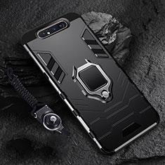 Custodia Silicone e Plastica Opaca Cover con Magnetico Anello Supporto R01 per Samsung Galaxy A80 Nero