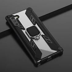 Custodia Silicone e Plastica Opaca Cover con Magnetico Anello Supporto R01 per Samsung Galaxy Note 10 5G Nero