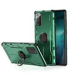 Custodia Silicone e Plastica Opaca Cover con Magnetico Anello Supporto R01 per Samsung Galaxy Note 20 5G Verde
