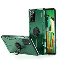 Custodia Silicone e Plastica Opaca Cover con Magnetico Anello Supporto R01 per Samsung Galaxy Note 20 Ultra 5G Verde