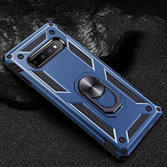 Custodia Silicone e Plastica Opaca Cover con Magnetico Anello Supporto R01 per Samsung Galaxy S10 Blu