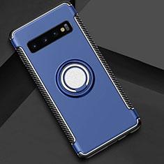 Custodia Silicone e Plastica Opaca Cover con Magnetico Anello Supporto R01 per Samsung Galaxy S10 Plus Blu