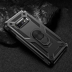 Custodia Silicone e Plastica Opaca Cover con Magnetico Anello Supporto R01 per Samsung Galaxy S10e Nero