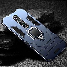 Custodia Silicone e Plastica Opaca Cover con Magnetico Anello Supporto R01 per Xiaomi Mi 9T Blu