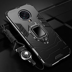 Custodia Silicone e Plastica Opaca Cover con Magnetico Anello Supporto R01 per Xiaomi Poco F2 Pro Nero