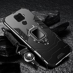 Custodia Silicone e Plastica Opaca Cover con Magnetico Anello Supporto R01 per Xiaomi Redmi 10X 4G Nero