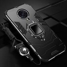 Custodia Silicone e Plastica Opaca Cover con Magnetico Anello Supporto R01 per Xiaomi Redmi K30 Pro 5G Nero