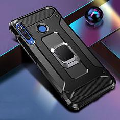 Custodia Silicone e Plastica Opaca Cover con Magnetico Anello Supporto R02 per Huawei P30 Lite Nero