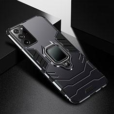 Custodia Silicone e Plastica Opaca Cover con Magnetico Anello Supporto R02 per Samsung Galaxy Note 20 Ultra 5G Nero