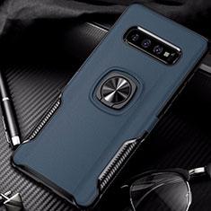 Custodia Silicone e Plastica Opaca Cover con Magnetico Anello Supporto R02 per Samsung Galaxy S10 Blu