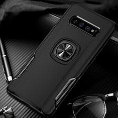 Custodia Silicone e Plastica Opaca Cover con Magnetico Anello Supporto R02 per Samsung Galaxy S10 Plus Nero