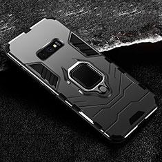Custodia Silicone e Plastica Opaca Cover con Magnetico Anello Supporto R02 per Samsung Galaxy S10e Nero