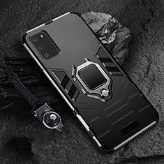 Custodia Silicone e Plastica Opaca Cover con Magnetico Anello Supporto R02 per Samsung Galaxy S20 5G Nero