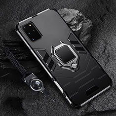 Custodia Silicone e Plastica Opaca Cover con Magnetico Anello Supporto R02 per Samsung Galaxy S20 Plus 5G Nero