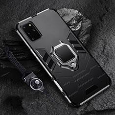 Custodia Silicone e Plastica Opaca Cover con Magnetico Anello Supporto R02 per Samsung Galaxy S20 Plus Nero