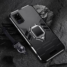 Custodia Silicone e Plastica Opaca Cover con Magnetico Anello Supporto R02 per Samsung Galaxy S20 Ultra 5G Nero