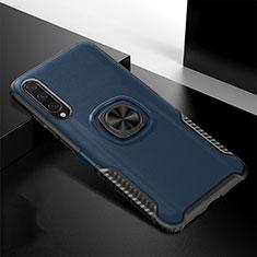 Custodia Silicone e Plastica Opaca Cover con Magnetico Anello Supporto R02 per Xiaomi Mi A3 Blu