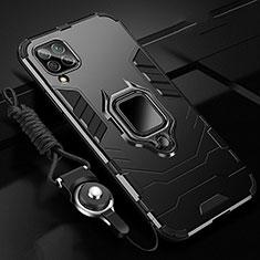 Custodia Silicone e Plastica Opaca Cover con Magnetico Anello Supporto R03 per Huawei P40 Lite Nero