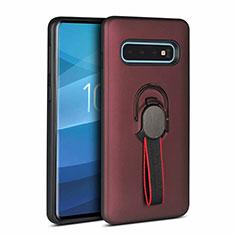 Custodia Silicone e Plastica Opaca Cover con Magnetico Anello Supporto R03 per Samsung Galaxy S10 Marrone