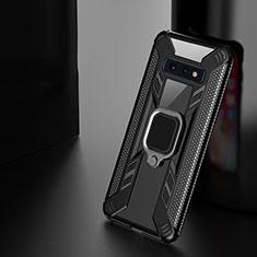 Custodia Silicone e Plastica Opaca Cover con Magnetico Anello Supporto R03 per Samsung Galaxy S10e Nero